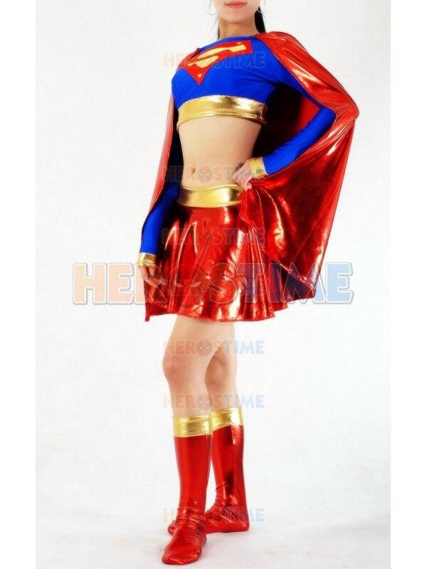 Klassiek rood en blauw Supergirl kostuum spandex & glanzend metallic - Carnavalskostuums - Foto 2