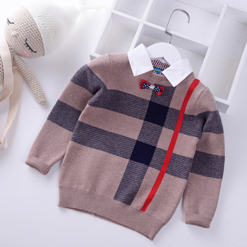 2019 Shirt collar Boys Sweaters Baby stripe Plaid Pullover Knit Kids Clothes Autumn Winter New Children Sweaters Boy Clothing