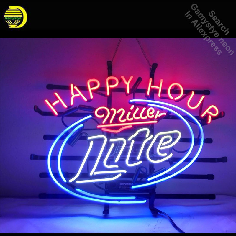 Neon Sign for Miller Lite Happy Hour Neon Bulb Sign Beer Bar Pub Neon Tube Sign Commercial handcraft Publicidad Store Displays