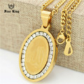 2016 Islamic Jewelry Allah Necklace Women/Men 18K Real Gold Plated Vintage Design Muslim Oval Medallion Necklaces & Pendants 24""