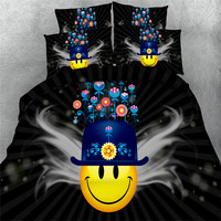 Free shipping 100%cotton 3d yellow smile face wiht hat 4pcs bedding set twin/full/queen/king/super king size home textile
