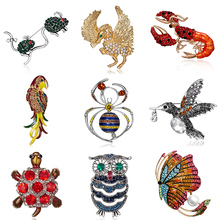 Rhinestone Painting Oil Animal Brooch Parrot Butterfly Mouse Spider Owl Animal Enamel Brooch Pin Women Kid Clothes Scarf Jewelry rhinestone faux gem halloween spider brooch