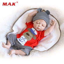 купить 56cm Reborn Baby Doll full body soft Silicone full Vinyl Reborn Dolls Sleeping bebe reborn baby Dolls Girl boy Gift for Kids дешево