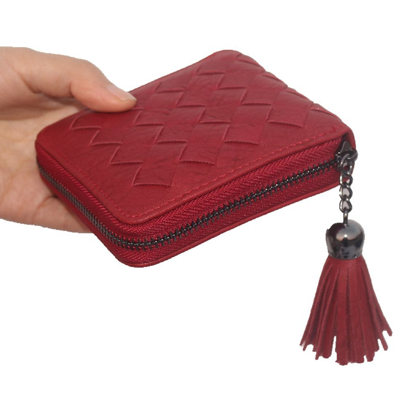 Vintage tassel women weave wallet brand female purse lady zipper clutch Short Wallet Ladies Hasp coin bag PU leather card holder