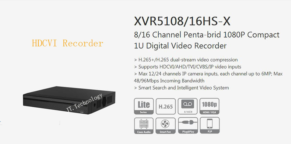 In Stock DAHUA 8/16 Channel Penta-brid 1080P Compact 1U Digital Video Recorder Without Logo XVR5108HS-X/XVR5116HS-X цена