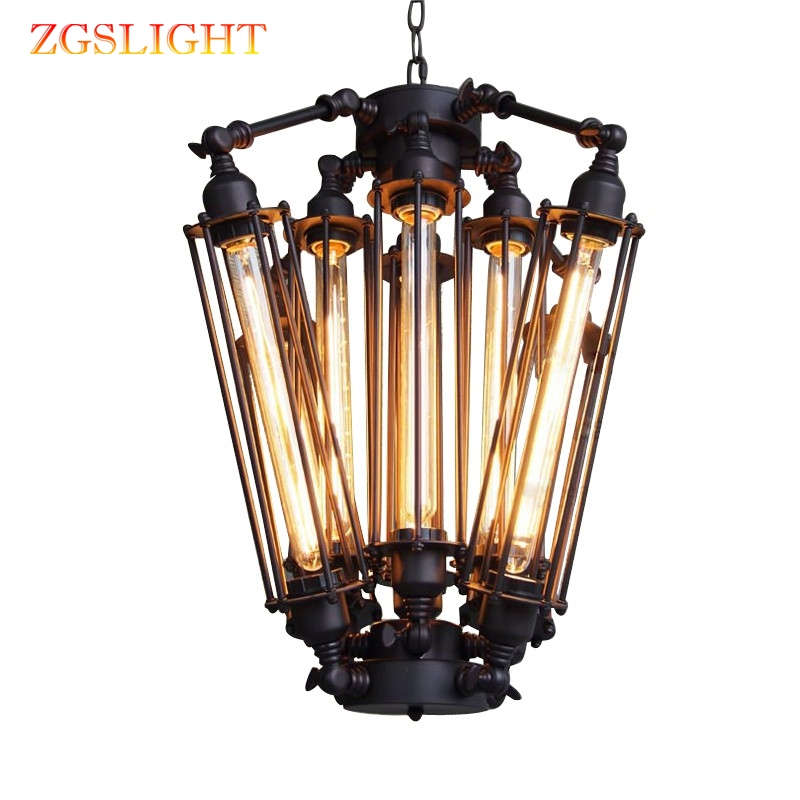American Retro Industrial Pendant Lights Loft Alcatraz Island Hanging Lamp Living Room Bedroom Vintage Metal Steampunk Lamp