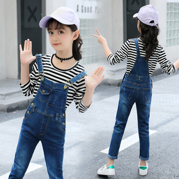 Kids Spring Clothing Set For Girls Long-sleeved Teen Girl Costumes 2Pcs Child Clothes 6 8 12 Years Striped Shirt+Denim Jumpsuit