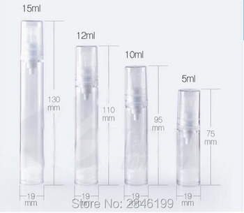 12ML Transparent Airless Bottle, Plastic Pump Head, Cosmetic Lotion Pump Tube, Eye Cream Sample Packing Bottle, 50pcs/lot