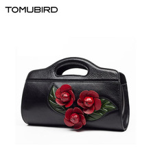TOMUBIRD new superior cowhide leather Leaf Designer Floral Genuine Leather bag Party Clutchs women Handbags