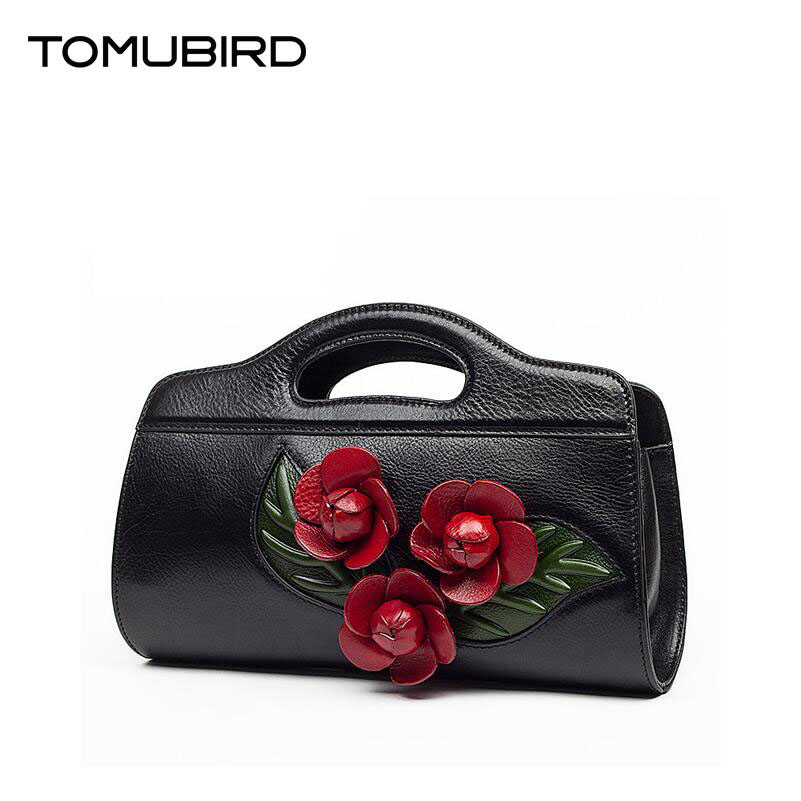 TOMUBIRD new superior cowhide leather Leaf Designer Floral Genuine Leather bag font b Party b font