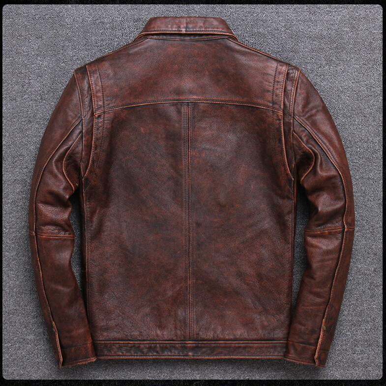 HTB1l8opPXYqK1RjSZLeq6zXppXa6 2019 Vintage Brown Men Smart Casual Leather Jacket Single Breasted Plus Size XXXL Genuine Cowhide Russian Coat FREE SHIPPING