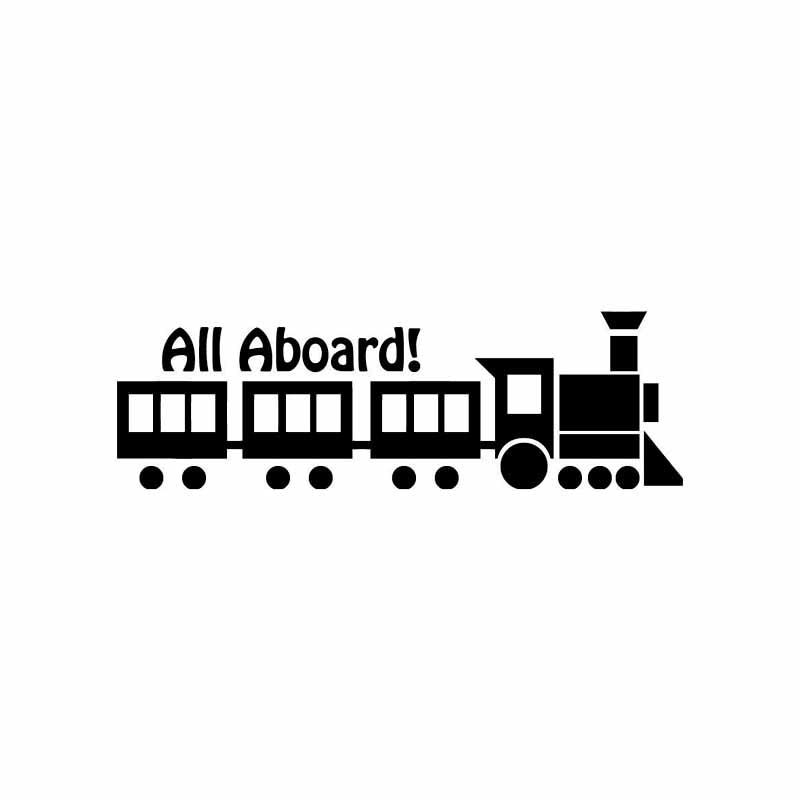 All Aboard Train Vinyl Decal  sticker