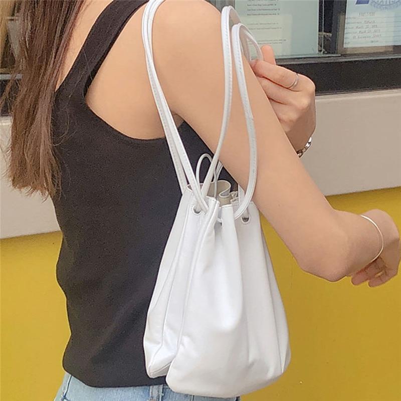 New Simple Goddess Drawstring Handbag Little Fairy Bag Female New Diagonal Cross Bucket Bag Wild Shoulder Bag