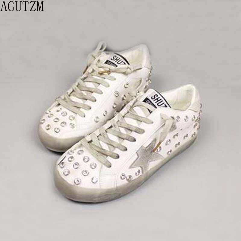 AGUTZM New Woman Star Sneakers Casual Shoe Round Toe Worn Out Distressed Leather Lace Up Vintage Do Old Dirty Shoe V280