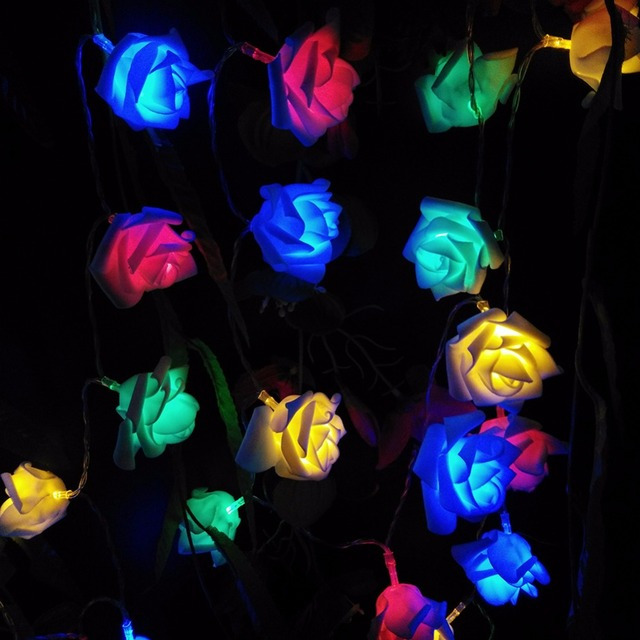 10m 80 roses wedding party 9 colors led string decoration lights valentines day lights holiday lightings