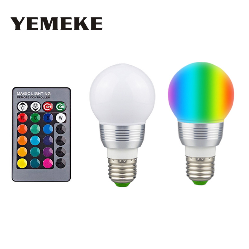 3W GU10/ E27 AC:85-265V MR16 DC:12V RGB16 Color Change LED spotlight Lamp bulb for Home Party decoration with IR Remote ...