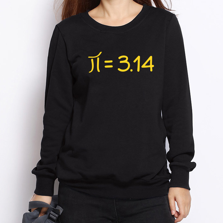 New Novelty Pi Print Hoodies Women Mathematics Symbol Funny Math Sweatshirts Winter Fashion Long Sleeve Tracksuit Ladies Clothes