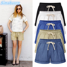цена 2017 Nes Women's Shorts England Style Drawstring Beach Casual Elastic Waist Street Wear Harem Pants Shorts Femme Loose Short в интернет-магазинах