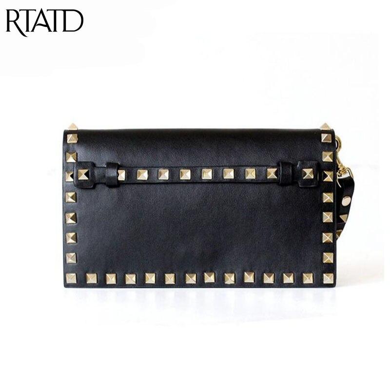 New Genuine Leather Rivet Design Women Handbag Trendy Brand Design Lady Tote For Women Clutches Q0180 trendy flat collar sleeveless pocket design buttoned dress for women