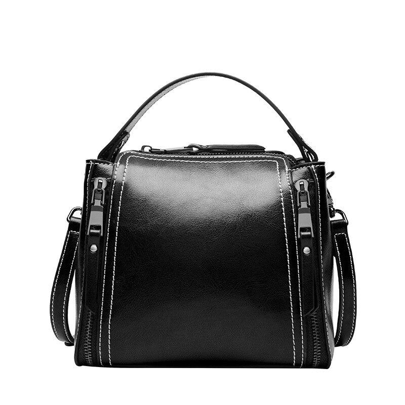 2017 New Retro Style Classic Design Ladies Genuine Leather Handbag Zipper Single Shoulder Bucket Bag Women's Messenger Bags