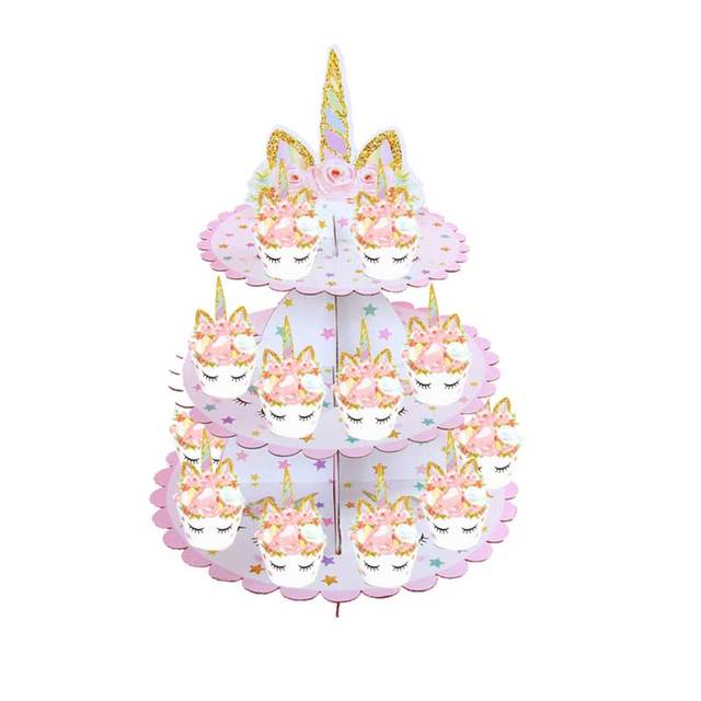 3 Tier Unicorn Cupcake Stand Wrappers Paper Kids Birthday Party Candy Holder Dessert Table Cake Decoration Supplies