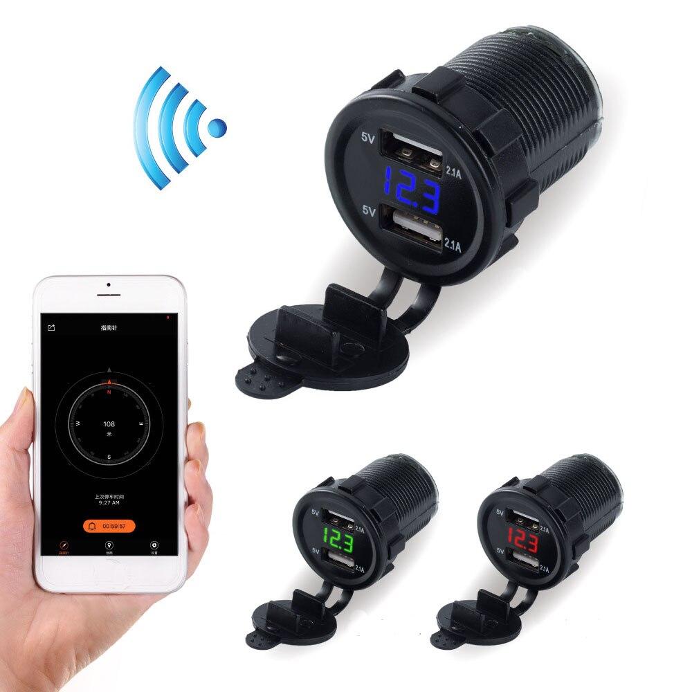 KWOKKER Bluetooth Puce Recherche De Voiture Double USB Allume-cigare Chargeur 4.2A Rapide Chargeur De Voiture Tension Moto ATV Tracteur
