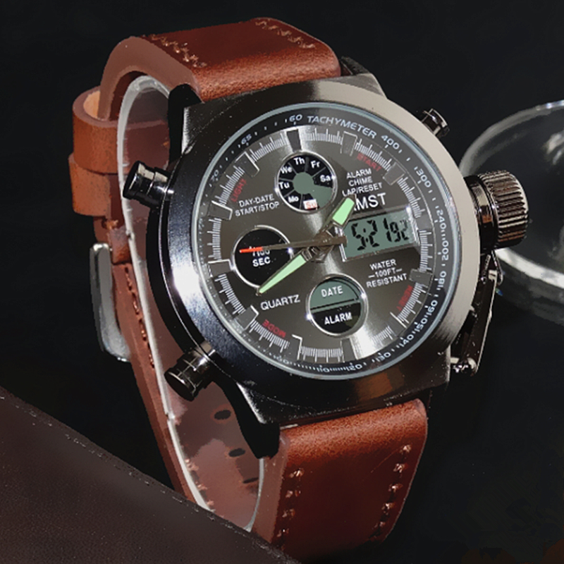 AMST Dive 50M LED Display Mens Leather Strap Watches