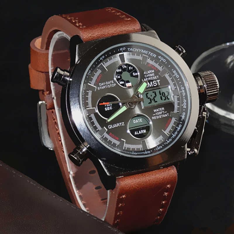 AMST Military Watches Dive 50M Nylon&Leather Strap LED Watches Men Top Brand Luxury Quartz Watch reloj hombre Relogio Masculino