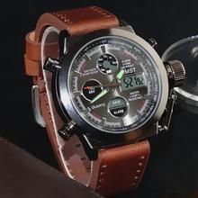 Amst軍はダイビング 50 メートルのナイロン & レザーストラップled腕時計男性トップブランドの高級クォーツ時計リロイhombreレロジオmasculino
