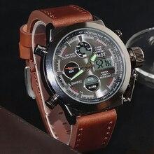 led couro masculino relógios