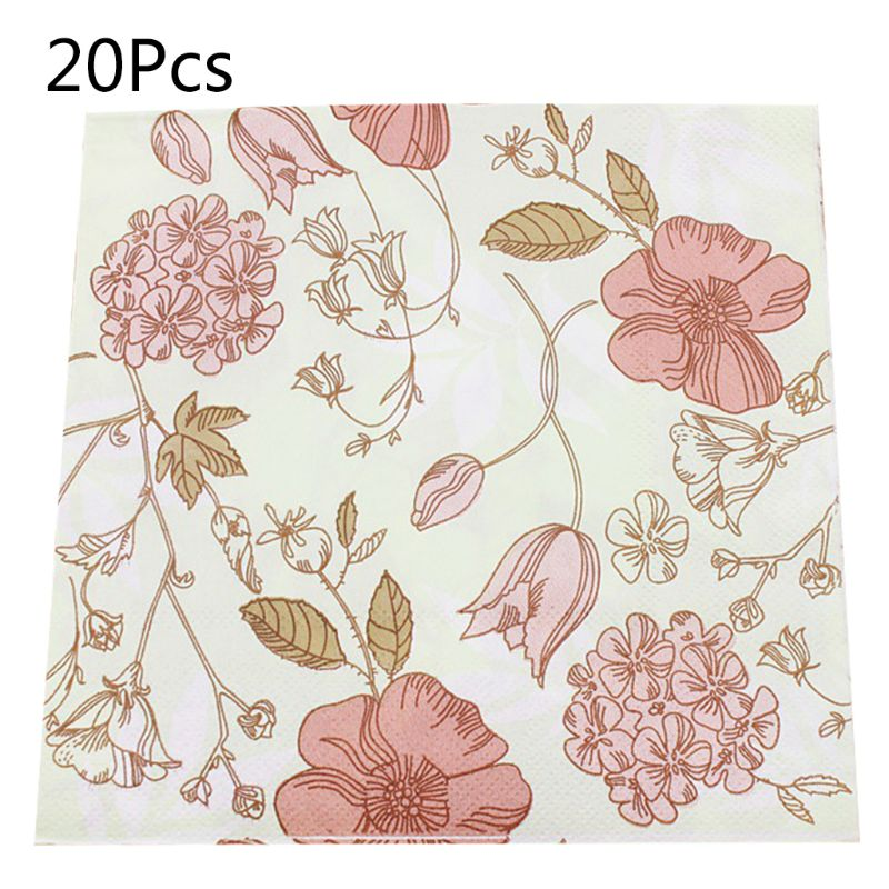 Paper Napkins Tableware Supply Disposable Printed Square Tissue color flower Pattern Party Festive Celebration 20 Pieces