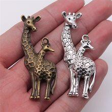 Wysiwyg 4 pçs 54x22mm encantos girafa veados antigo fazer pingente vintage diy jóias artesanais