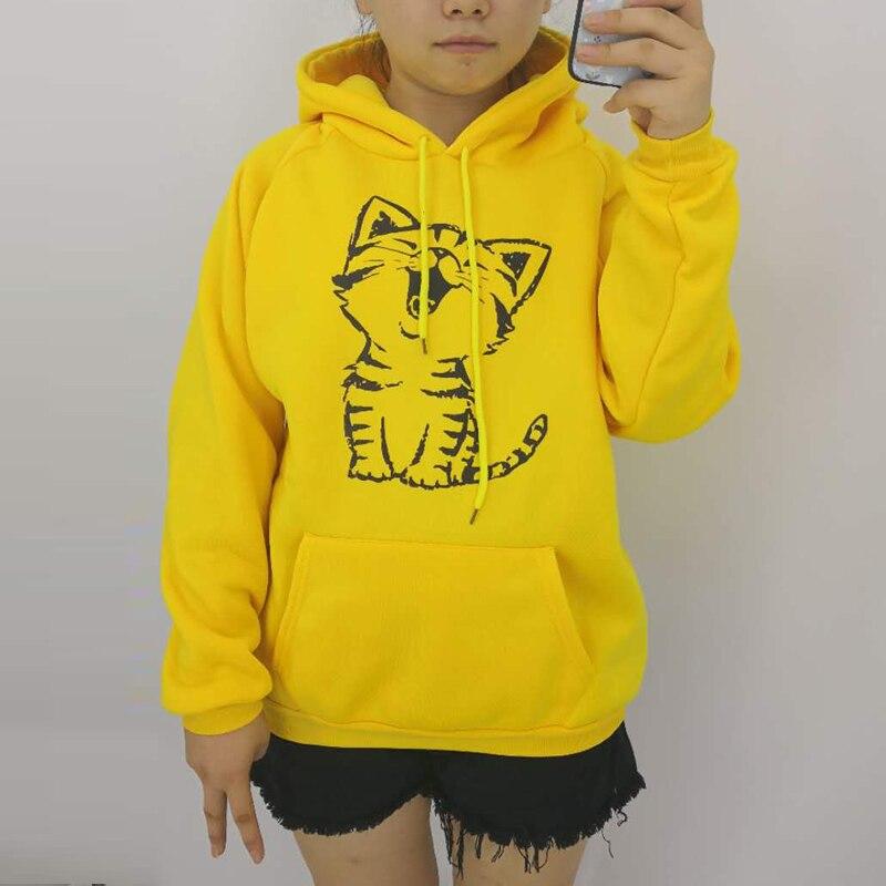 Autumn Winter Fashion Happy Cat Print Harajuku Yellow Pullover Thicken Loose Women Hoodies Sweatshirt Casual Coat Female