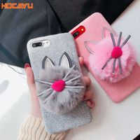HOCAYU Cute Cat Fur Ball Cell Phone Accessories Case For Iphone X 8 8plus 7 7plus