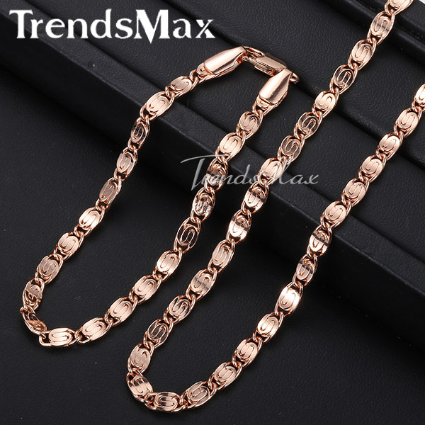 Trendsmax ROSE Gold Filled Snail Link Chain Womens Mens Chain Necklace Girls Boys Unisex Wholesale Jewelry GS181
