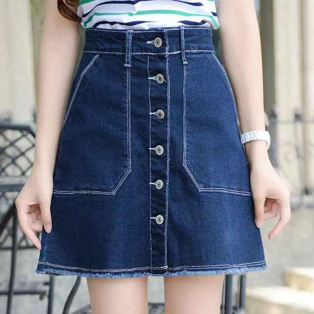 0906 verano 2018 Faldas Mujer más tamaño falda XS-XXXL Denim faldas  mujeres Mini e7c52b9f6841