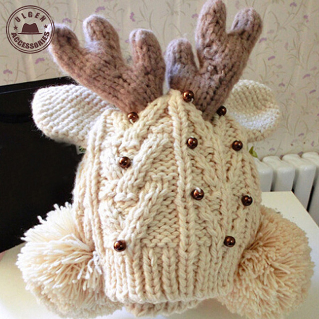 2015 New Touca Mask Aliexpress Retail Female Cute Antler Charm Beanie Hats Cartoon Shaped Deer Horn Knitted For Women [gen-745]