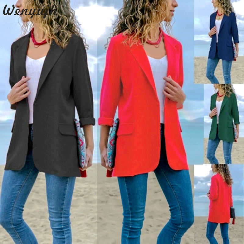 Wenyujh 2019 Autumn Slim Fit Women Blazers Open Front Notched Pockets Office Work Jacket Coat Elegant Lady Blazer Plus Size Tops