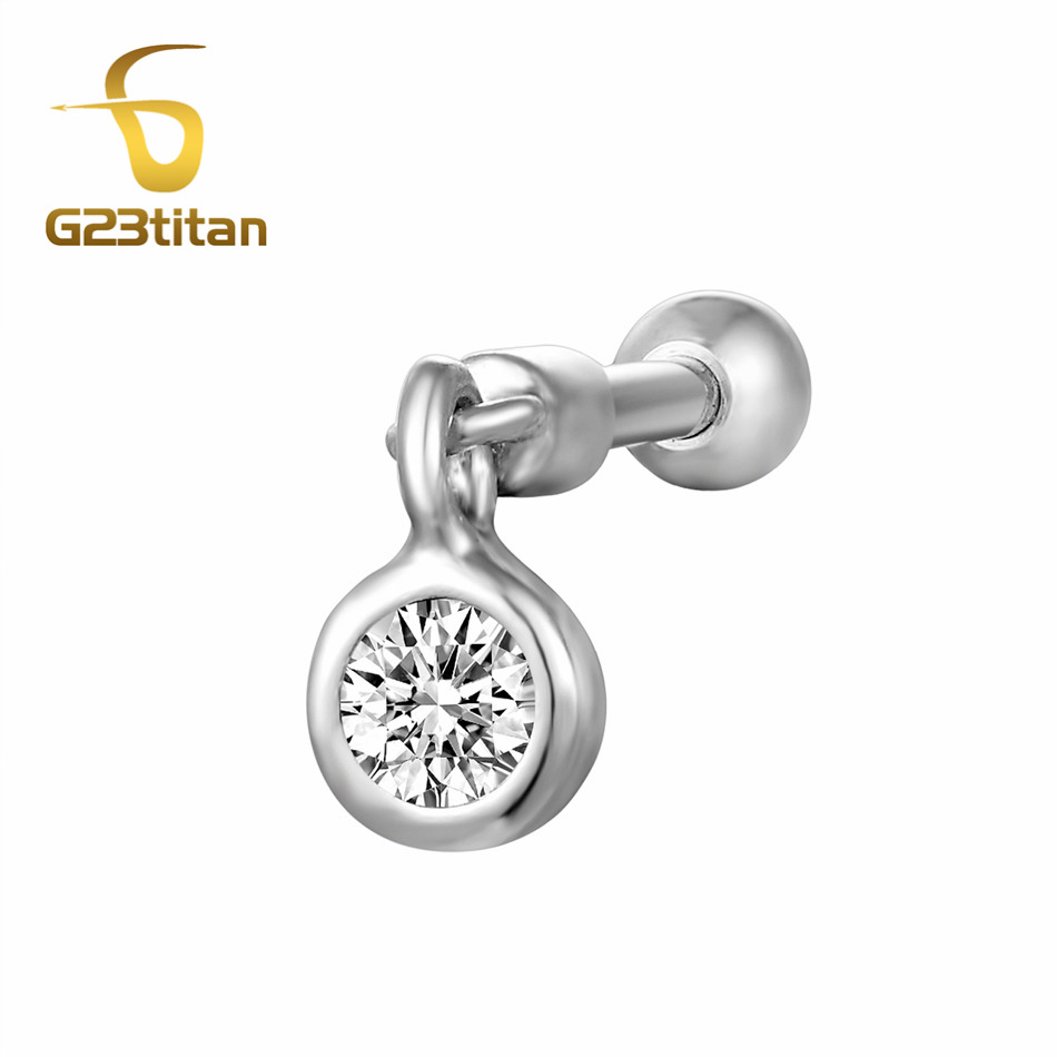 G23titan Crystal Ear Studs 6mm Titanium Labrets for Ear Cartilage Helix Piercing Rings Earrings Studs Body Jewelry
