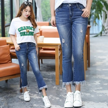 Korean Style Casual Cotton Hole Tassel Calf-Length Pants Plus Size XL-5XL Women Jeans Shorts 2017 Summer Top Selling Lady Shorts plus size women in overalls