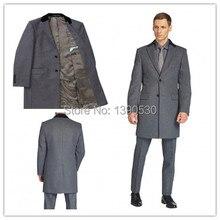 Новое Поступление зимняя Классика Мужчины Долго 2 кнопки с Серый контрастность черная задняя воротник на заказ мужские пальто