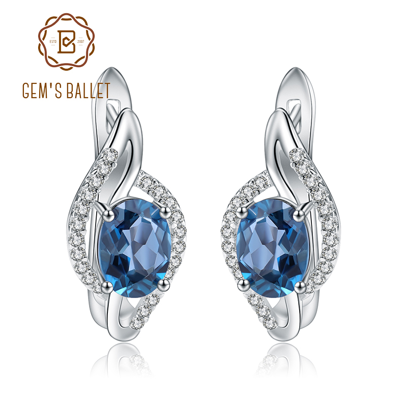 Gem s Ballet 3 15Ct Natural London Blue Topaz Gemstone Stud Earrings 925 Sterling Silver Fine