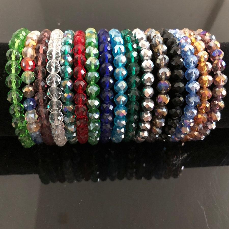 Charm Handmade Women's 8mm Rhinestone Glass Crystal Beaded Round Beads Stretch Bracelet Femme Bangle Bracelets Girl Wrap Jewelry