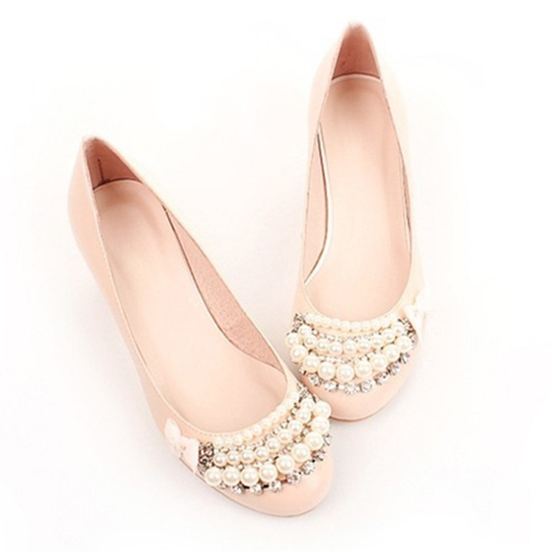 Woman's Crystal Diamond Round Toe Low Heel Single High heels Shoes Kvoll Pumps Party Wedding Footwear Genuine Leather 34-46 Pink женские сапоги kvoll x 61967 2015