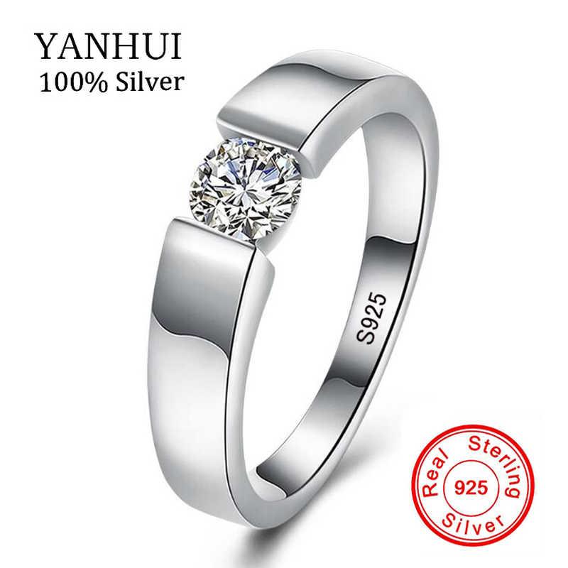 YANHUI настоящие натуральные 925 пробы парные серебряные кольца набор 0,75 карат Диамант CZ обручальные свадебные кольца для мужчин и женщин ZRD10