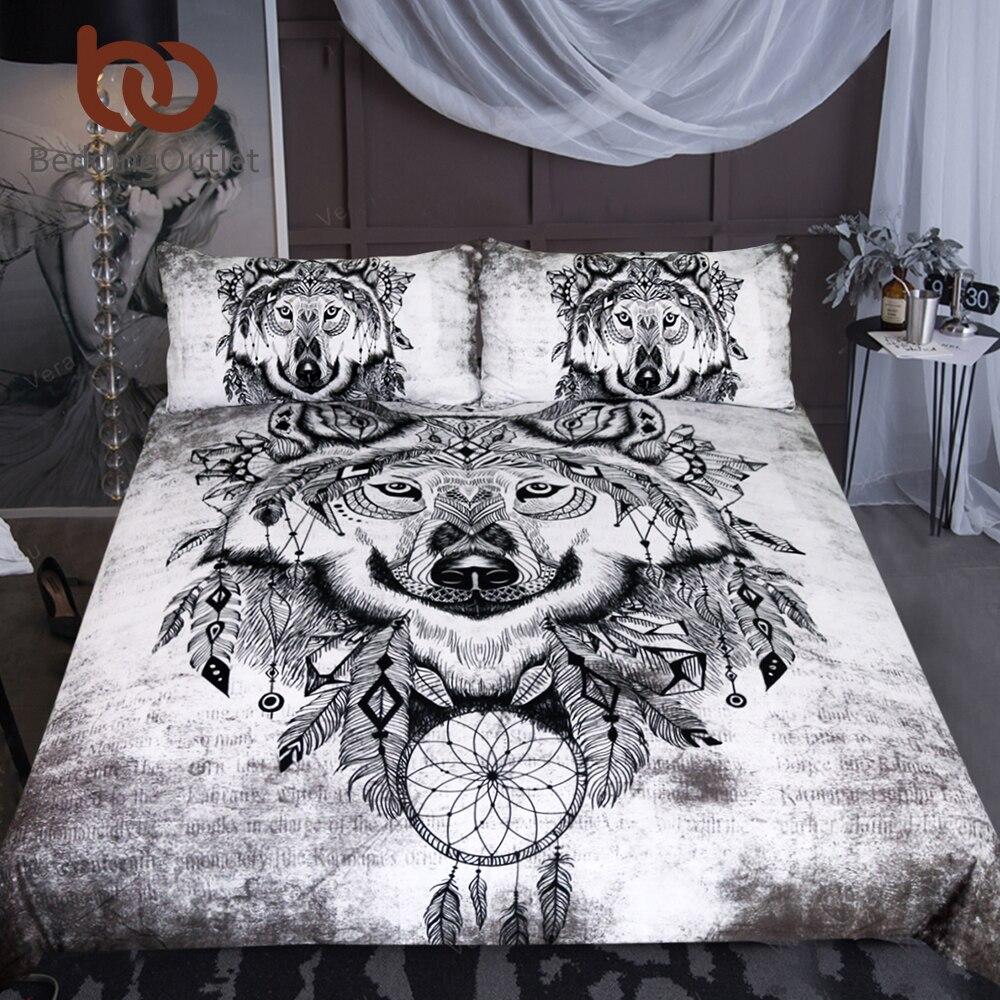 BeddingOutlet Tribal Wolf Bettwäsche Set Königin Dreamcatcher Bettbezug-set Indian Home Textilien 3-Stück Schwarz und Weiß Bettwäsche
