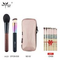 Anmor Kaufen 3 Erhalten 1 Geschenk Professionelle Make-Up Pinsel Enthalten Foundation Powder Brush Rosa Tasche Bambus Lidschatten Pinsel Kit