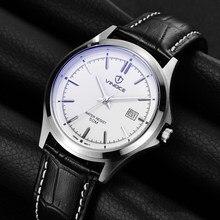 VINOCE Watches Men Top Brand Luxury Calendar leather Multifunction Quartz Watch 50 m Waterproof Wristwatches relogio masculino