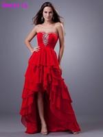 Красное шифоновое, короткое, длинное короткие подростки коктейльные платья 2019 милое Элегантное свадебное платье с коротким передом и длинн