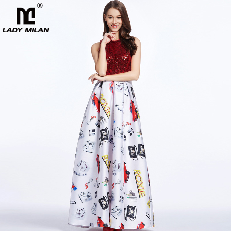 New Arrival 2018 Womens O Neck Sleeveless Sequined Bodice Characters Printed Ruched Elegant Long Fashion Casual Dresses